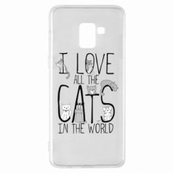 Чехол для Samsung A8+ 2018 I Love all the cats in the world