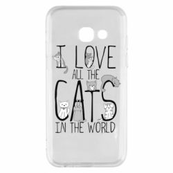 Чехол для Samsung A3 2017 I Love all the cats in the world