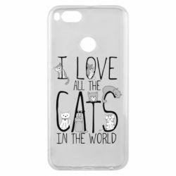 Чехол для Xiaomi Mi A1 I Love all the cats in the world
