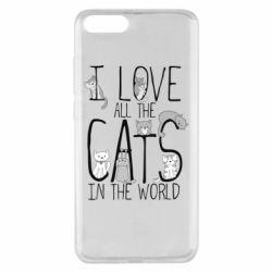 Чехол для Xiaomi Mi Note 3 I Love all the cats in the world