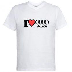 Мужская футболка  с V-образным вырезом I love audi - FatLine