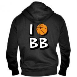Мужская толстовка на молнии I love basketball - FatLine