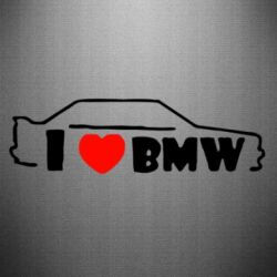 Наклейка I love BMW - FatLine