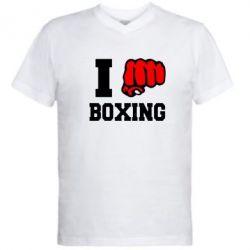 Мужская футболка  с V-образным вырезом I love boxing - FatLine
