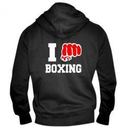 Мужская толстовка на молнии I love boxing - FatLine