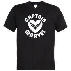 Чоловіча футболка з V-подібним вирізом I love Captain Marvel