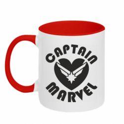 Кружка двоколірна 320ml I love Captain Marvel