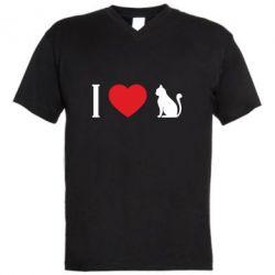 Чоловіча футболка з V-подібним вирізом I love cat