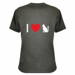 Камуфляжна футболка I love cat