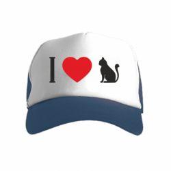Дитяча кепка-тракер I love cat