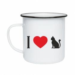 Кружка емальована I love cat