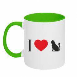 Кружка двоколірна 320ml I love cat