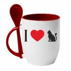Кружка з керамічною ложкою I love cat