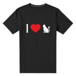 Чоловіча стрейчева футболка I love cat