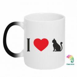 Кружка-хамелеон I love cat