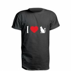 Подовжена футболка I love cat