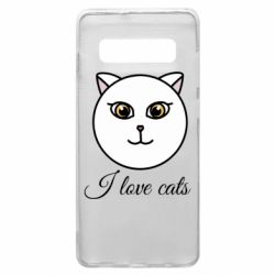 Чохол для Samsung S10+ I love cats art