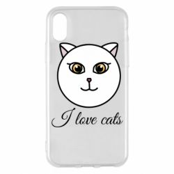 Чохол для iPhone X/Xs I love cats art