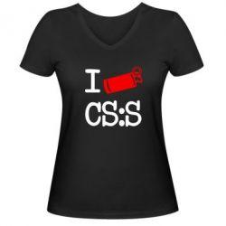 Женская футболка с V-образным вырезом I love CS Source - FatLine