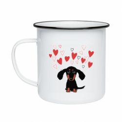 Кружка емальована I love dachshund