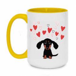 Кружка двоколірна 420ml I love dachshund