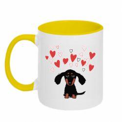 Кружка двоколірна 320ml I love dachshund