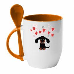 Кружка з керамічною ложкою I love dachshund