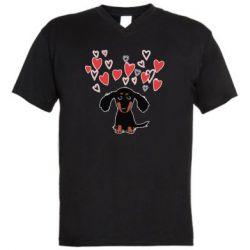 Чоловіча футболка з V-подібним вирізом I love dachshund