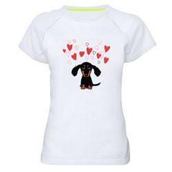 Жіноча спортивна футболка I love dachshund
