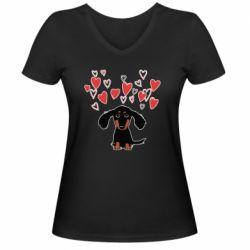 Жіноча футболка з V-подібним вирізом I love dachshund