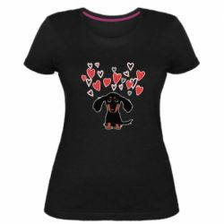 Жіноча стрейчева футболка I love dachshund