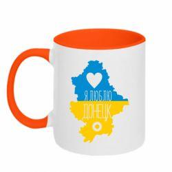 Кружка двоколірна 320ml I love Donetsk, Ukraine