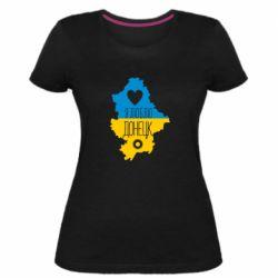 Женская стрейчевая футболка I love Donetsk, Ukraine