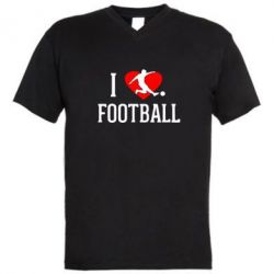 Мужская футболка  с V-образным вырезом I love football - FatLine