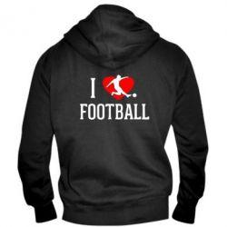 Мужская толстовка на молнии I love football - FatLine