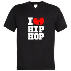 Мужская футболка  с V-образным вырезом I love Hip-hop Wu-Tang
