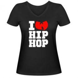 Женская футболка с V-образным вырезом I love Hip-hop Wu-Tang - FatLine