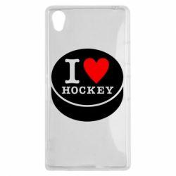 Чехол для Sony Xperia Z1 I love hockey - FatLine