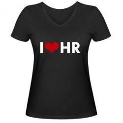 Женская футболка с V-образным вырезом I love HR