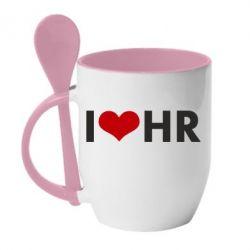 Кружка с керамической ложкой I love HR