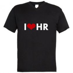 Мужская футболка  с V-образным вырезом I love HR