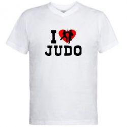 Мужская футболка  с V-образным вырезом I love Judo - FatLine