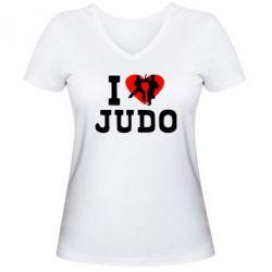 Женская футболка с V-образным вырезом I love Judo