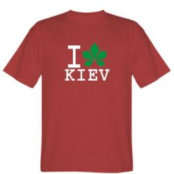 Мужская футболка I love Kiev - с листиком - FatLine