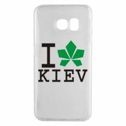 Чехол для Samsung S6 EDGE I love Kiev - с листиком - FatLine