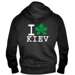 Мужская толстовка на молнии I love Kiev - с листиком - FatLine