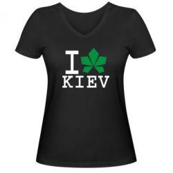 Женская футболка с V-образным вырезом I love Kiev - с листиком - FatLine