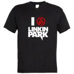 Мужская футболка  с V-образным вырезом I love Linkin Park - FatLine