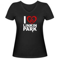 Женская футболка с V-образным вырезом I love LP - FatLine