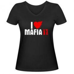 Женская футболка с V-образным вырезом I love Mafia 2 - FatLine